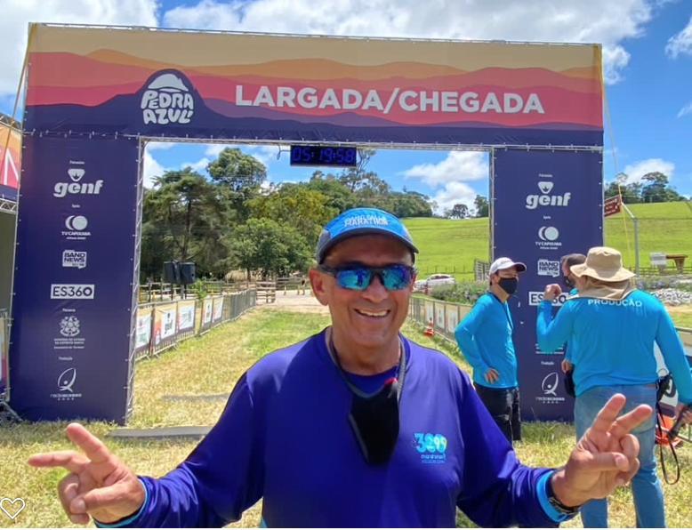 Arquivo pessoal, linha chegada da Maratona Pedra Azul - ES